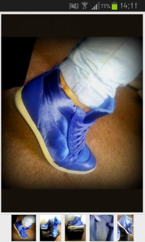 High Top Sneakers Sportschuhe blau seidenlook