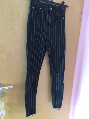 Bershka Hoge taille jeans zwart-wit