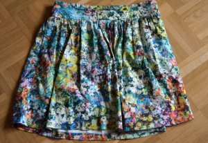 Zara Woman High Waist Skirt multicolored cotton