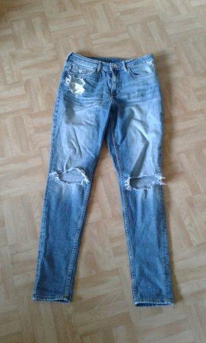 H&M Divided Pantalon taille haute bleu