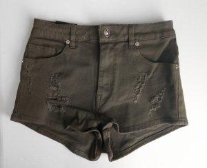 High Waist Destroyed Shorts Khaki Gr. 36 Neu