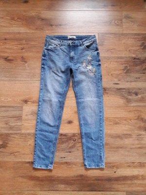 High Waist Girlfriend Mom Jeans blau bunt Gr. 36