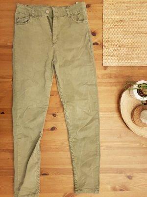 Pantalone a vita alta grigio-verde-verde oliva