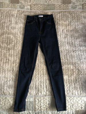 Bershka High Waist Jeans dark blue