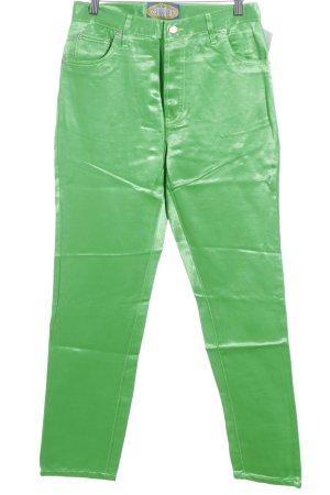 Pantalón de cintura alta verde neón estilo extravagante