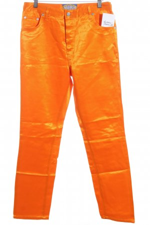 Pantalón de cintura alta naranja neón estilo extravagante