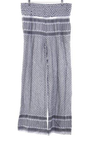 Pantalon taille haute noir-blanc motif graphique style hippie