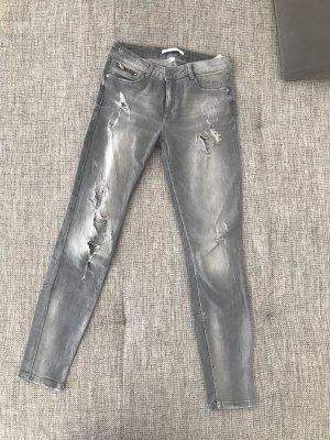 Zara Pantalon taille haute gris