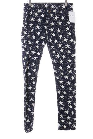 High Waist Trousers white-dark blue star pattern casual look