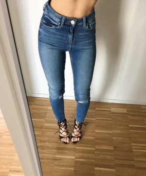 High Waist Jeans 34 XS Blau Skinny Ripped W25 L30