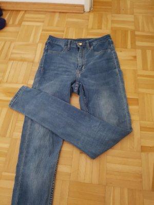 Jeans a vita alta blu acciaio-blu fiordaliso