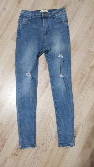 Pantalone a vita alta blu acciaio-blu fiordaliso