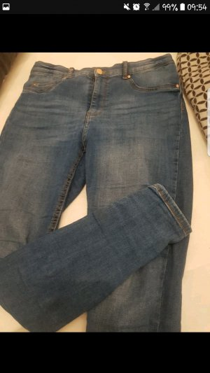 Jeans a vita alta blu acciaio
