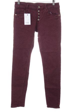 High Waist Jeans bordeauxrot Casual-Look
