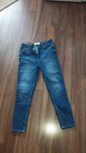 BDG Pantalon taille haute bleu acier coton