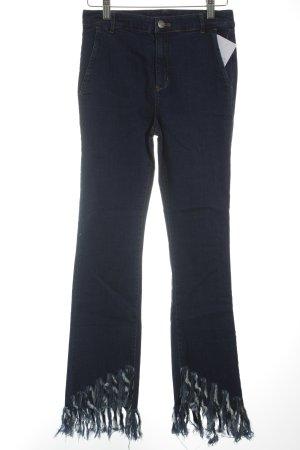 High Waist Jeans dunkelblau Hippie-Look