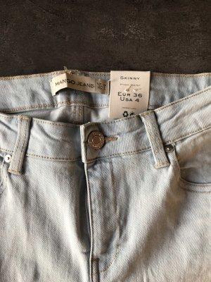 Mango High Waist Jeans light blue