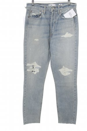 High Waist Jeans light blue distressed style