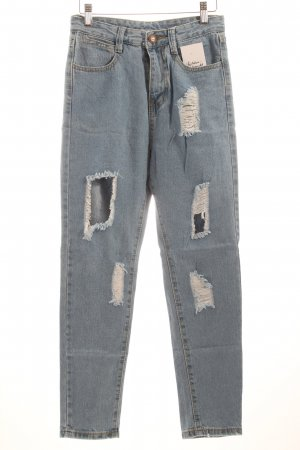 High Waist Jeans hellblau Destroy-Optik