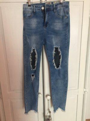 High Waist Jeans hellblau mit Netz Löcher Risse, destroyed, Cutouts Ripped