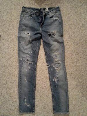 Jeans a vita alta grigio ardesia