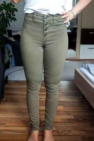 High Waist Jeans khaki mit Knöpfen