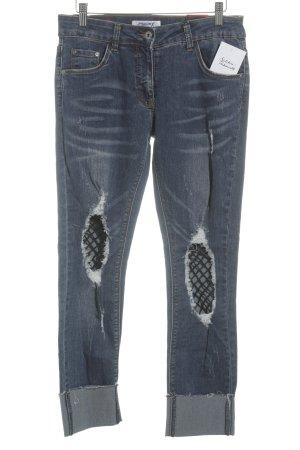 Jeans a vita alta blu fiordaliso-blu stile casual