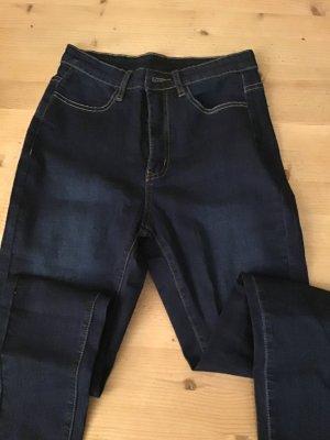 Jeans a vita alta blu-blu scuro Cotone