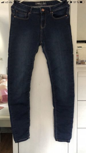 Fishbone High Waist Jeans dark blue