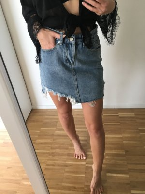 High Waist Jeans Rock S 36 Blau Jeansrock denim blogger ripped