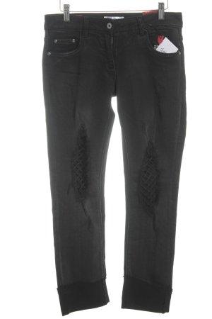 Jeans a vita alta nero-grigio scuro stile casual