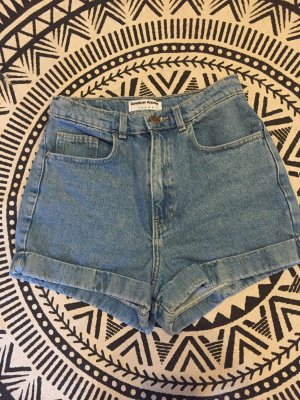 American Apparel High-Waist-Shorts pale blue-light blue