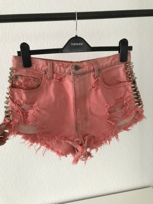 High Waist Jeans Shorts in Korall