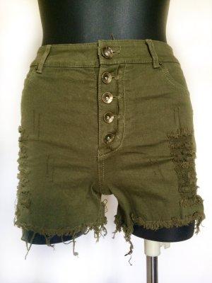 FB Sister Pantalón corto de talle alto gris verdoso Algodón