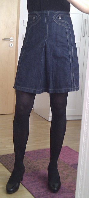 Oasis High Waist Skirt dark blue cotton