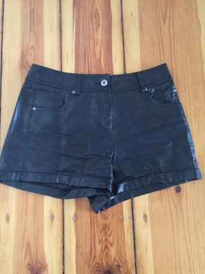 High-Waist-Shorts black imitation leather
