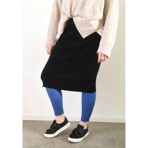 High waist Midi-Rock schwarz XXL 40 42 44 Strech Skirt Blogger Trend Black NEU