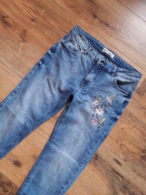 High Waist Patches Girlfriend Jeans blau bunt Gr. 36