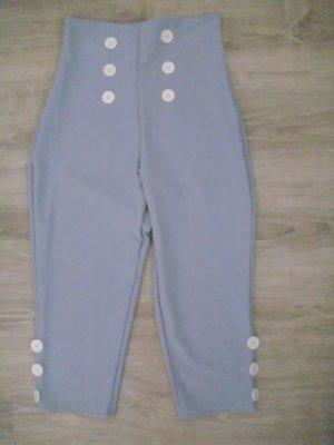 Pantalón capri azul tejido mezclado