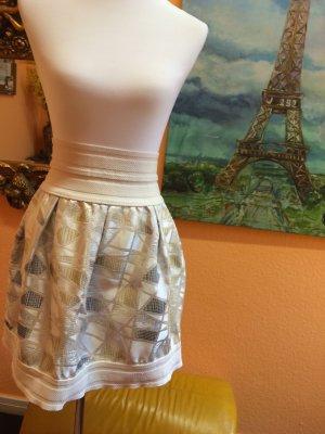 Falda de talle alto azul celeste-gris claro tejido mezclado