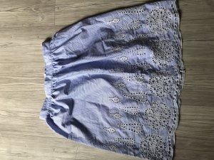 H&M Jupe évasée blanc-bleu azur