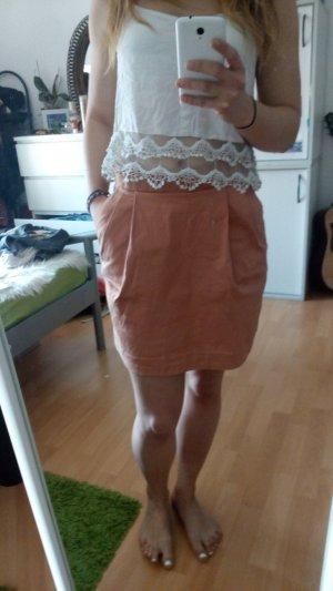 H&M Falda de talle alto albaricoque