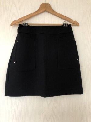 H&M Falda de talle alto azul oscuro