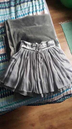 H&M High Waist Skirt silver-colored-light grey