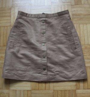 H&M Falda de talle alto marrón claro