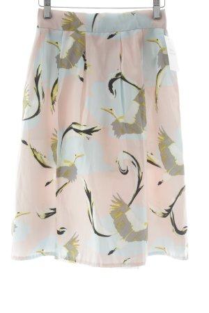 Falda de talle alto estampado temático estilo minimalista