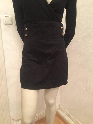 H&M Falda de talle alto negro-color oro