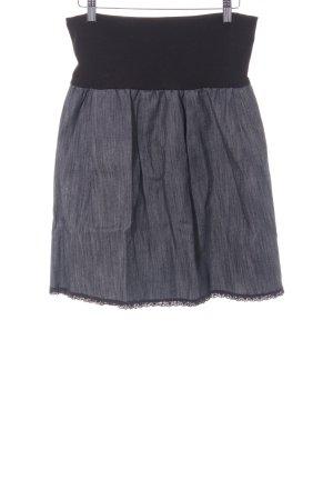 Falda de talle alto negro-azul acero look casual
