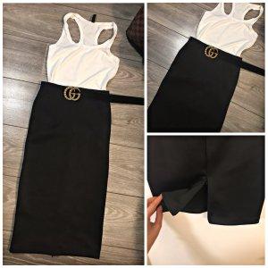 H&M Falda de talle alto negro-blanco