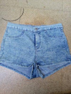 Clockhouse High-Waist-Shorts white-pale blue cotton